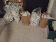 worki z dokumentami pociętymi przez niszczarkę dokumentów